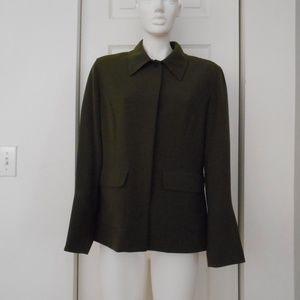 ANNE KLEIN A LINE olive green blazer size 10